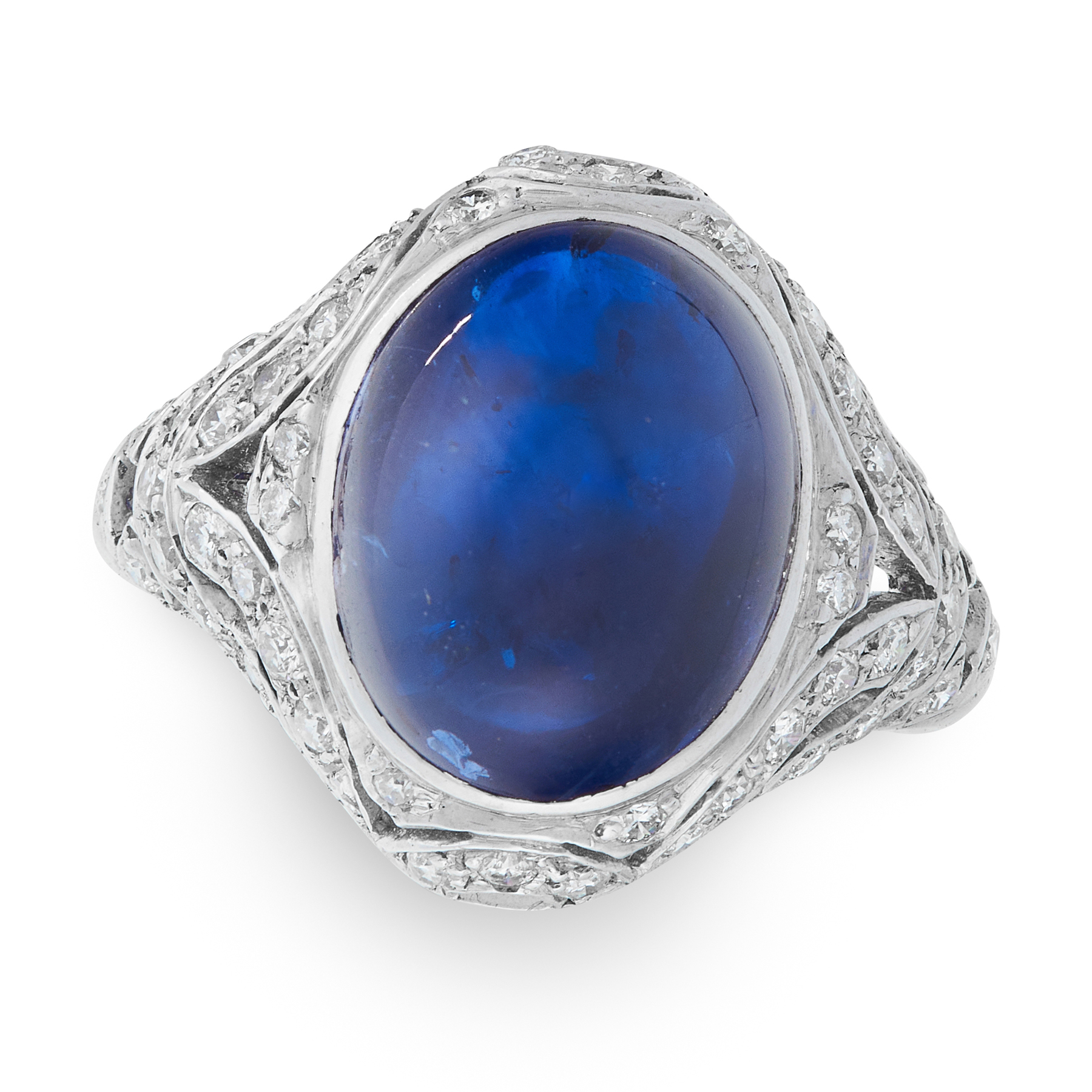 A SAPPHIRE AND DIAMOND RING in 18ct white gold, set with an oval cabochon sapphire within an open