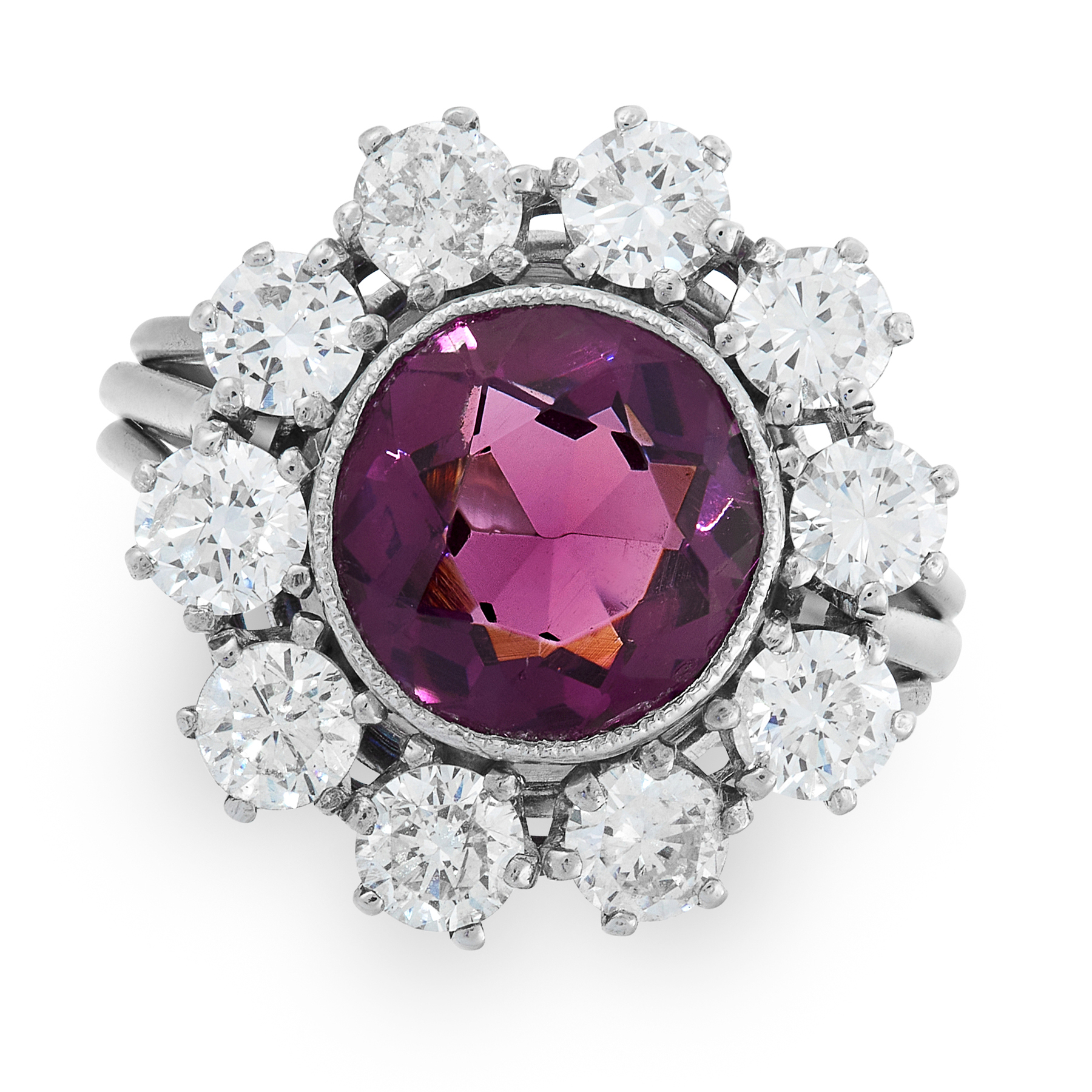 AN AMETHYST AND DIAMOND CLUSTER RING set with a round cut amethyst of 1.53 carats within a cluster