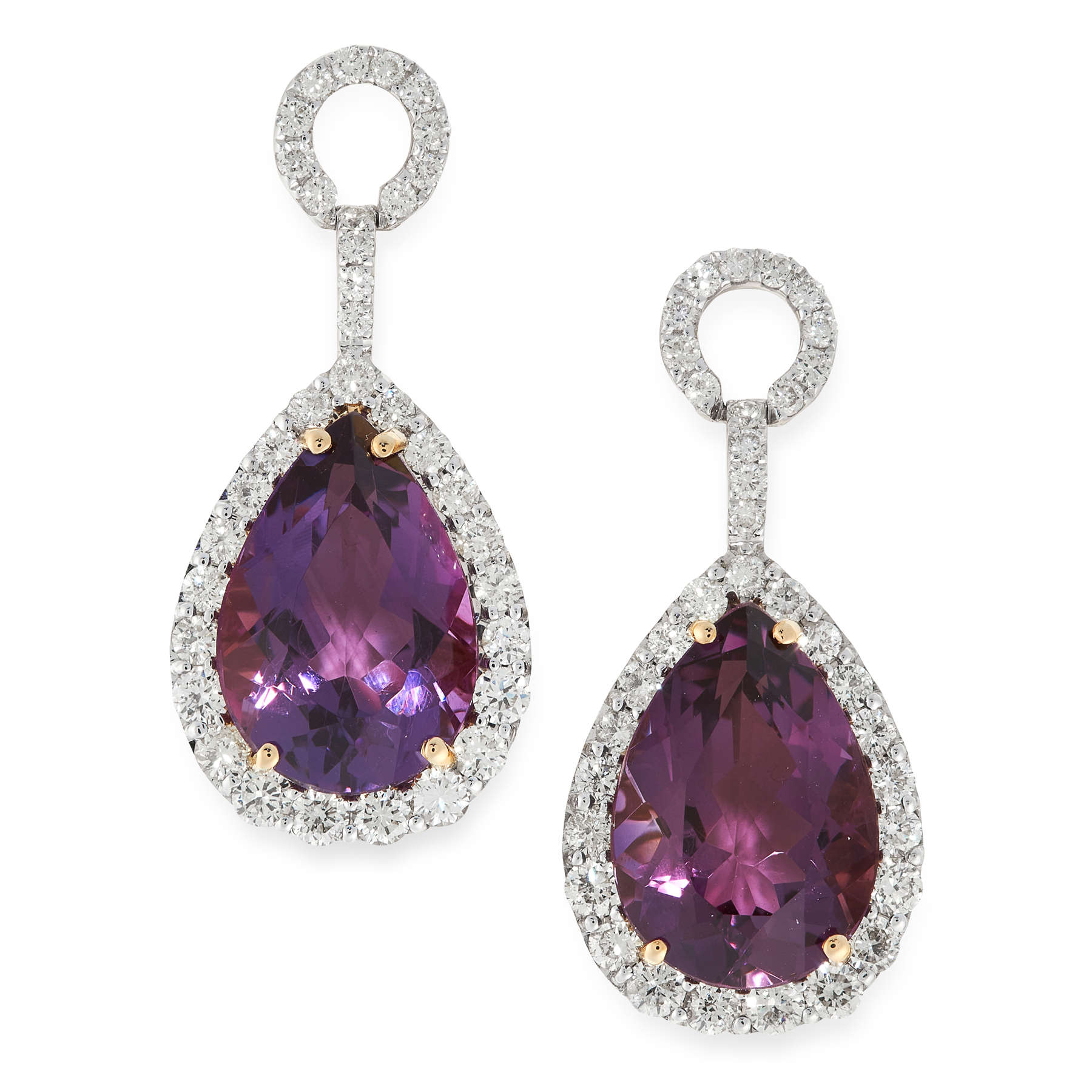 A PAIR OF AMETHYST AND DIAMOND EARRINGS in 18ct yellow gold, each set with a pear cut amethyst 8.
