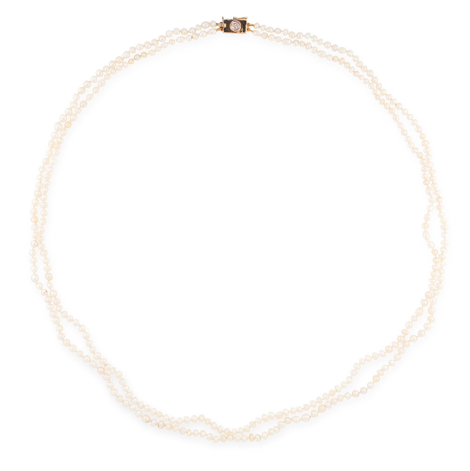 A TWO ROW NATURAL PEARL AND DIAMOND NECKLACE in yellow gold, comprising of two rows of natural