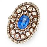 AN ANTIQUE CEYLON NO HEAT SAPPHIRE AND DIAMOND RING, 19TH CENTURY in yellow gold and silver, set