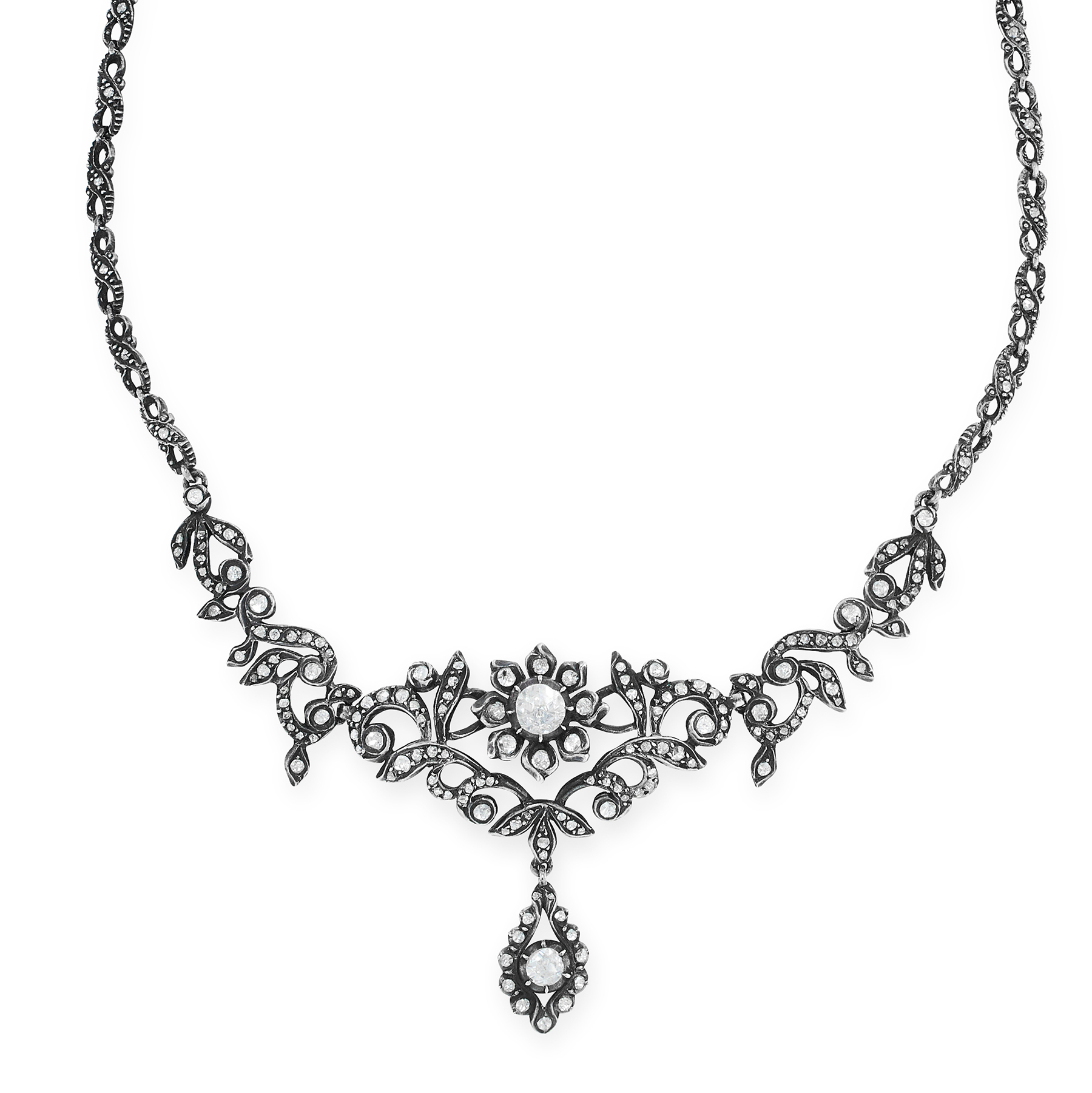 AN ANTIQUE DIAMOND NECKLACE, DUTCH 19TH CENTURY in yellow gold and silver, the scrolling foliate