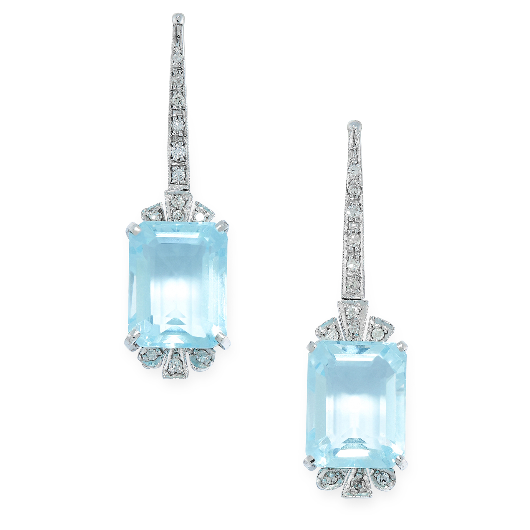 A PAIR OF BLUE TOPAZ AND DIAMOND EARRINGS in white gold, in Art Deco design, the tapering body set