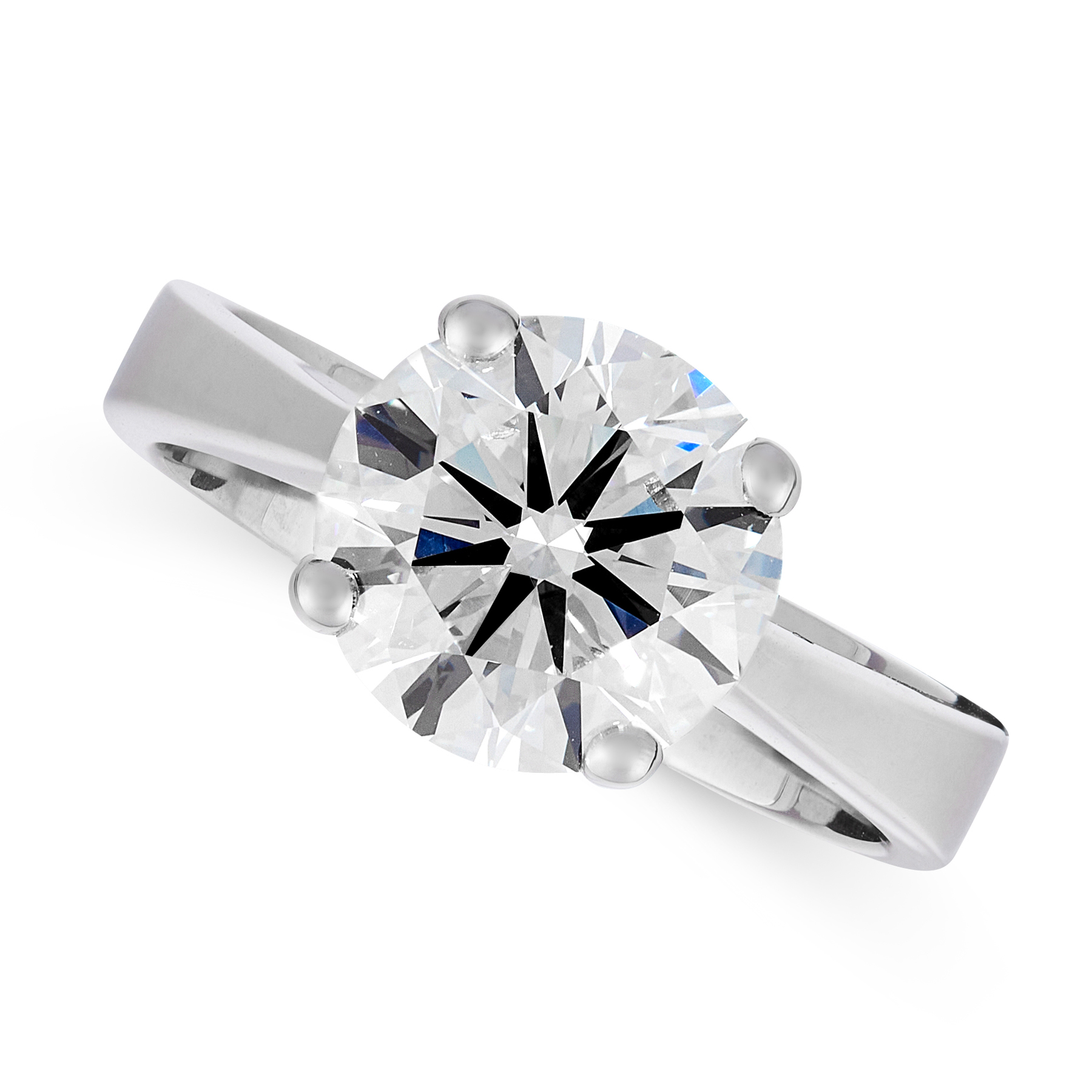 A 3.00 CARAT SOLITAIRE DIAMOND RING in 18ct white gold, set with a round brilliant cut diamond of