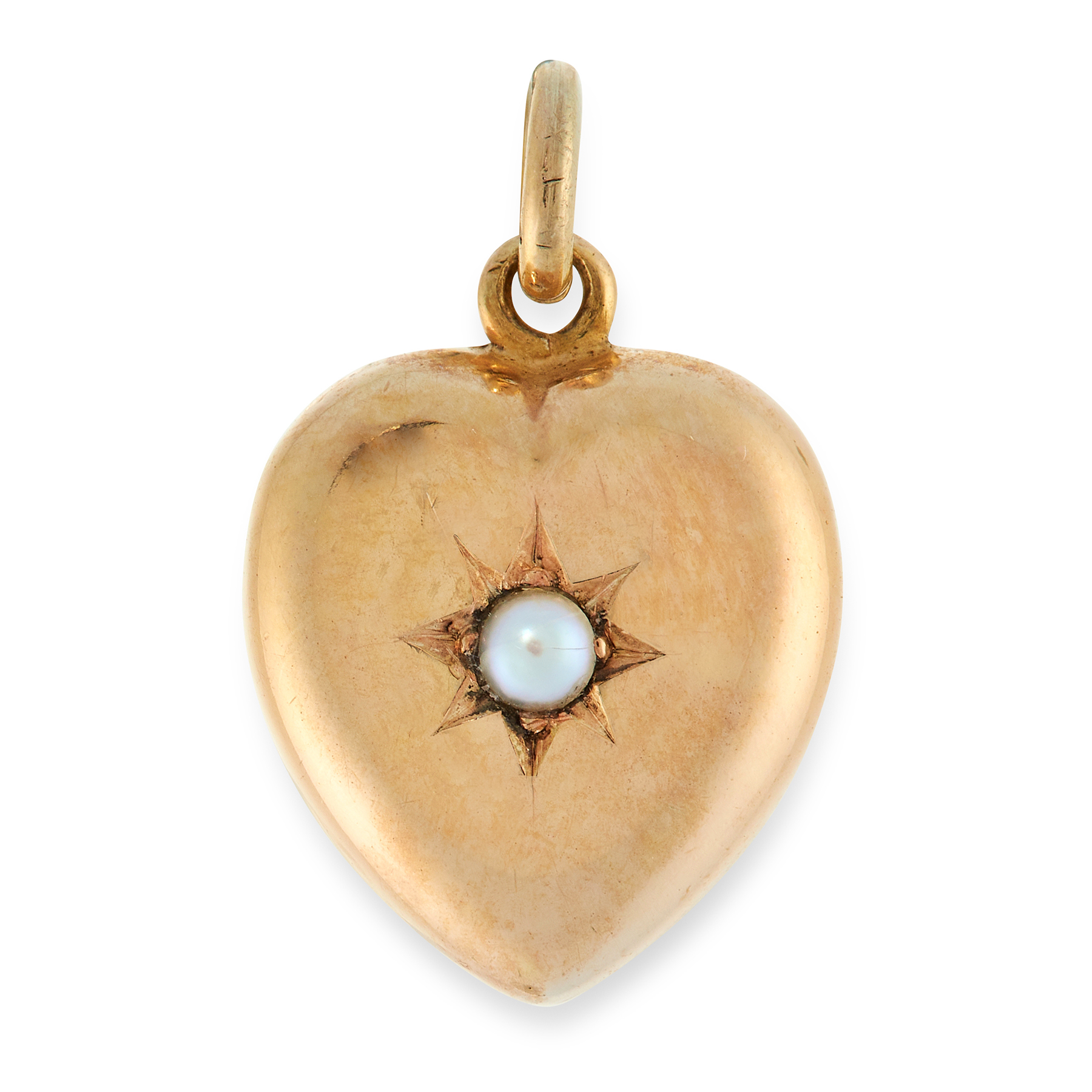 AN ANTIQUE PEARL HEART PENDANT in 15ct yellow gold, in the form of a heart set with a pearl, stamped