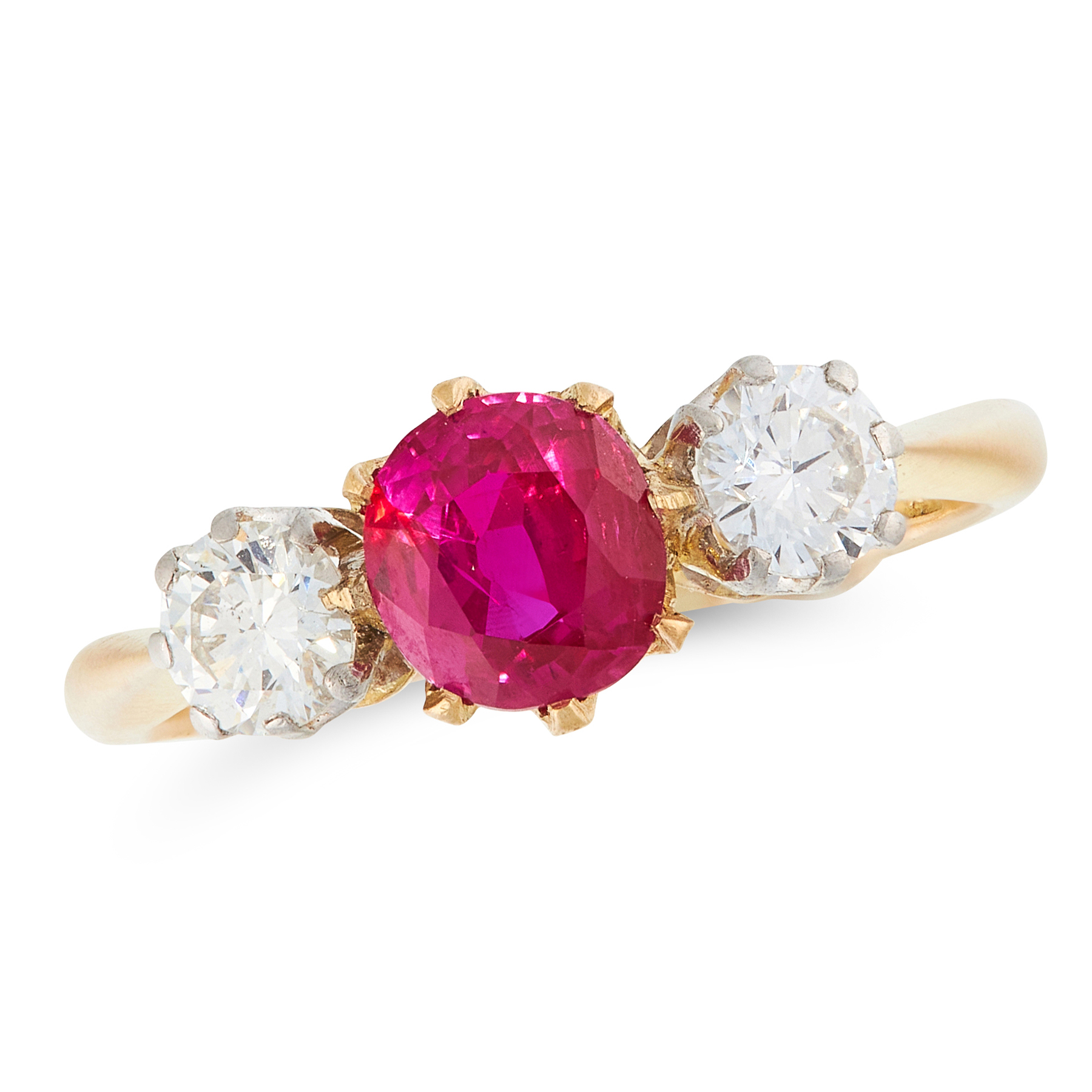 A RUBY AND DIAMOND THREE STONE RING in 18ct yellow gold, set with a round cut ruby of 0.70 carats
