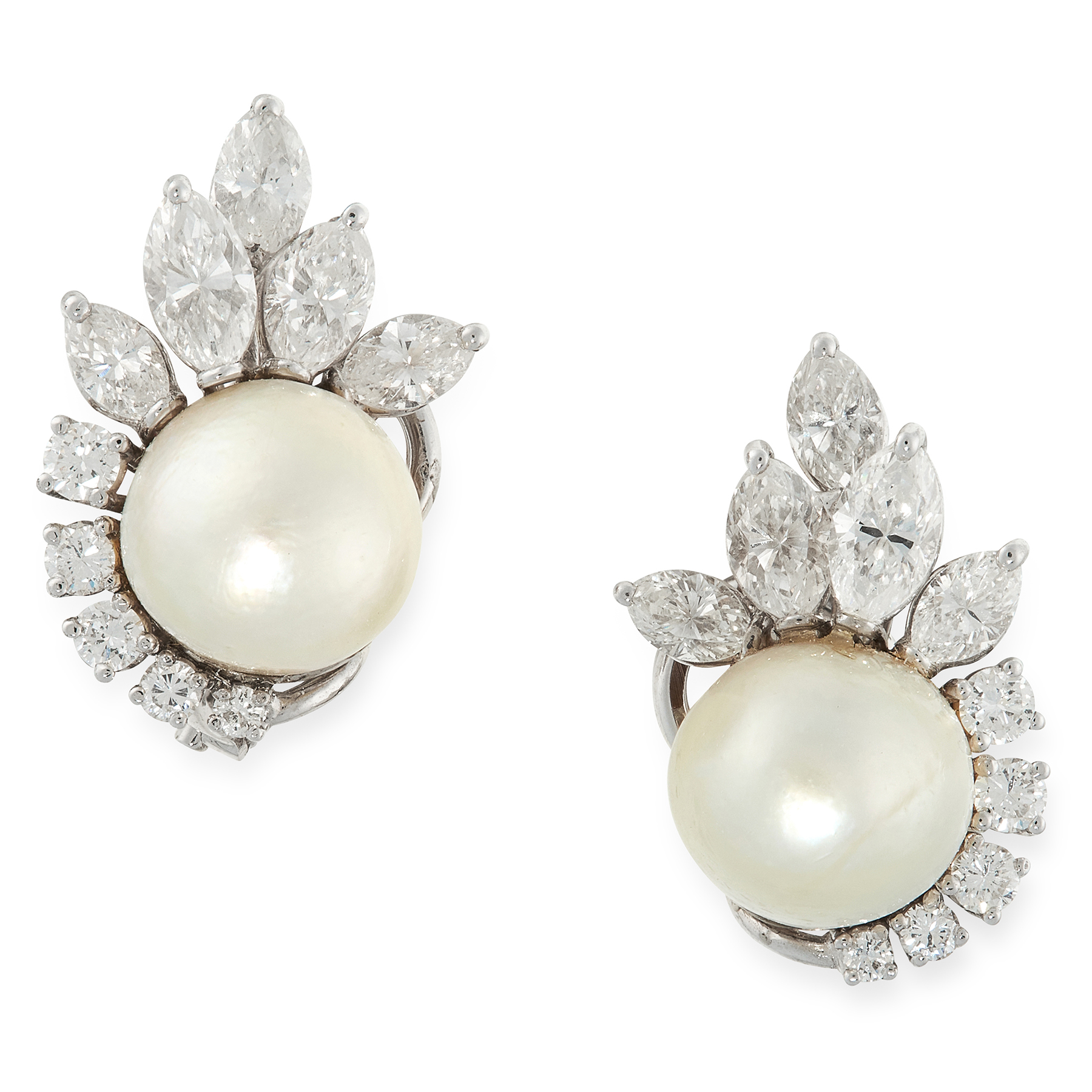 A PAIR OF NATURAL PEARL AND DIAMOND CLIP EARRINGS in white gold, each set with a pearl of 9.8mm