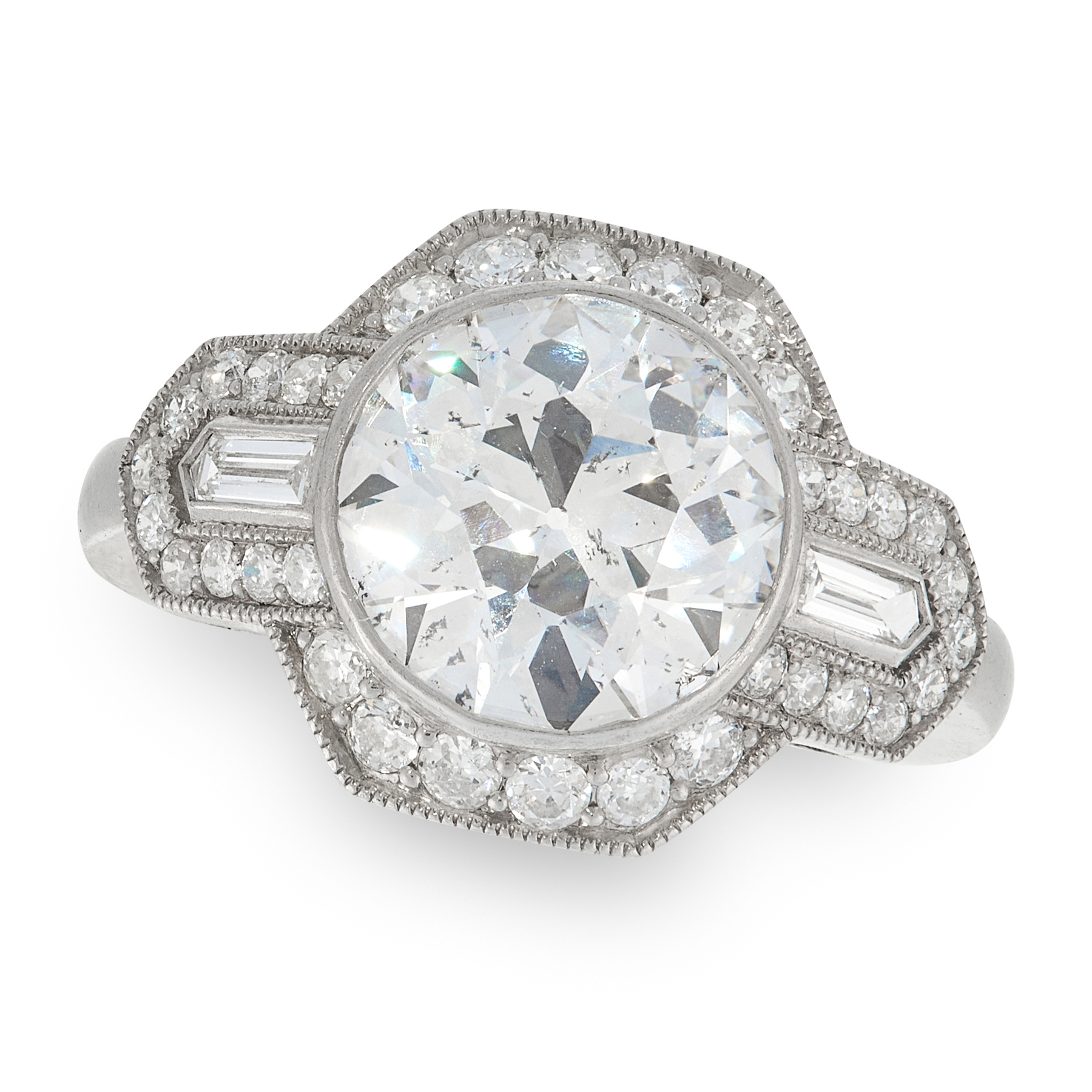 A DIAMOND DRESS RING in platinum, set with a principal round cut diamond of 3.01 carats flanked by