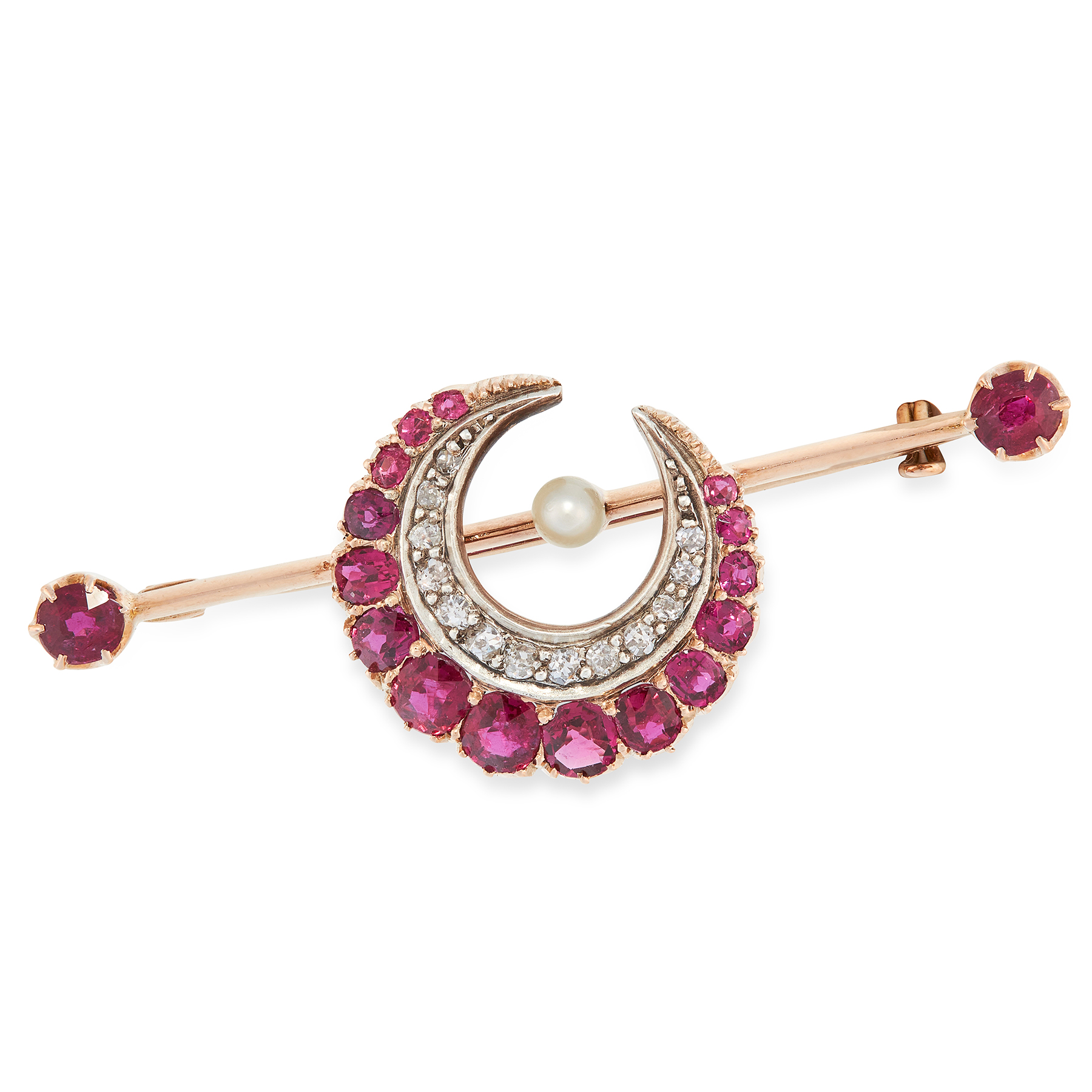 AN ANTIQUE VICTORIAN RUBY, DIAMOND AND PEARL CRESCENT MOON BROOCH in yellow gold, in the form of a