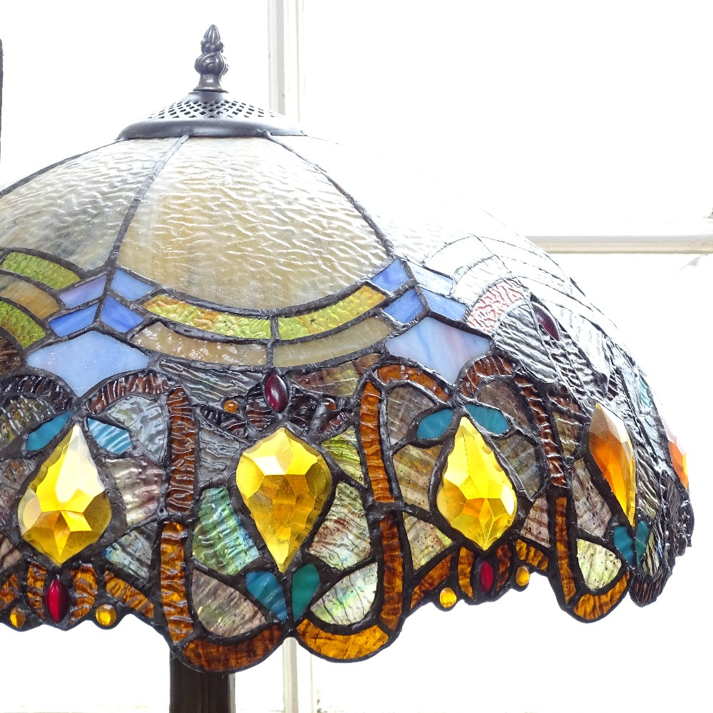 """Lot 30 - A Tiffany style leadlight table lamp, height 24"""""""