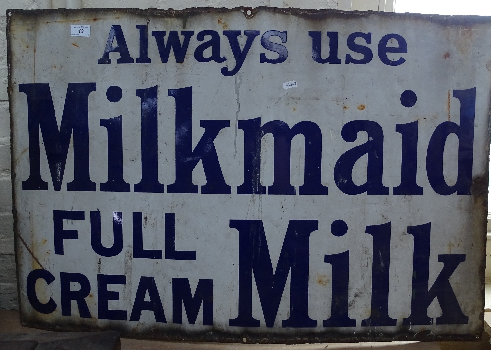 "Lot 19 - An Antique enamel sign ""Alway use Milkmaid full cream milk"", length 36"""