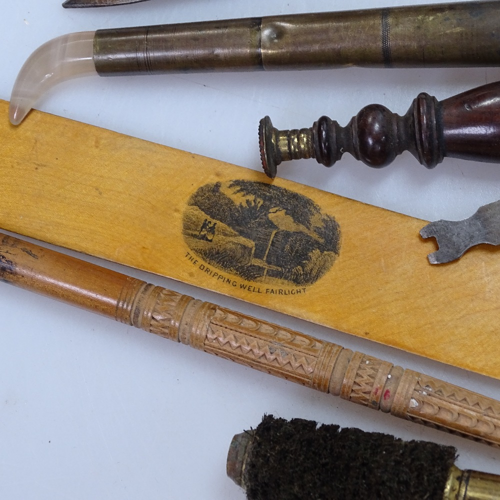 Lot 4 - A 19th century gilder's tool with agate tip, corkscrew, bone weighted bell pull, paper knife, shears