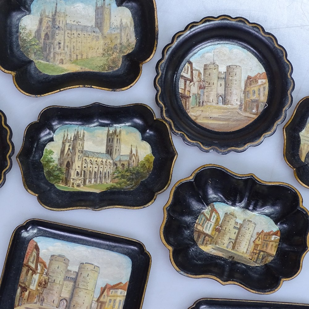 Lot 53 - 8 paper mache pin trays, with scenes of Canterbury