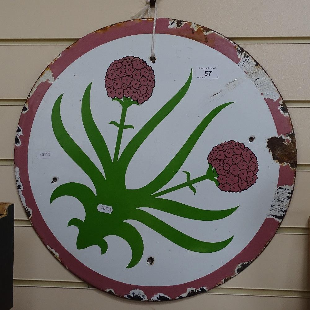 "Lot 57 - A Vintage enamel sign advertising ""Thrifty Savings"", 18"" diameter"