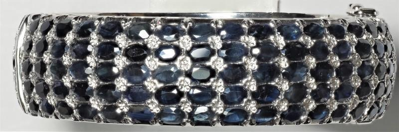 Lot 45 - Sterling Silver 195 Blue Sapphire (58.50ct) Bangle Bracelet. Retail Appraised Value $3300 (45-NT128)