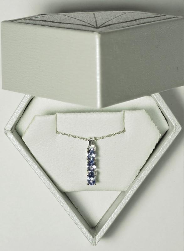 Lot 11 - 10K White Gold 3 Tanzanite Pendant Necklace. Retail $800 (11-NT128)