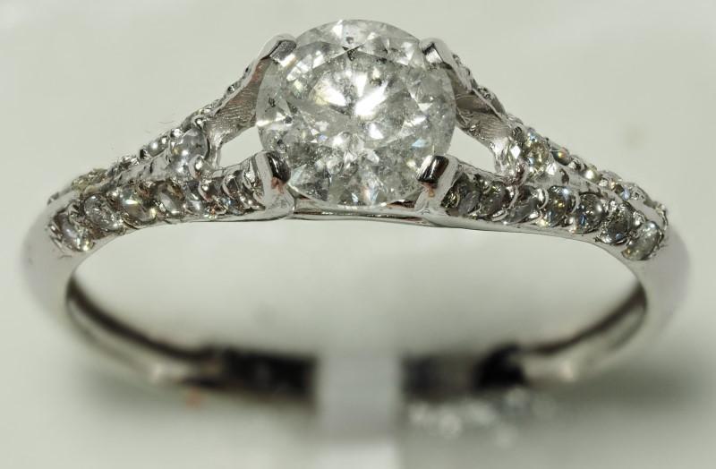 Lot 46 - 14K White Gold 31 White Diamond (0.85ct, April Birthstone) Ring. Insurance Value $5100 (46-NT128)