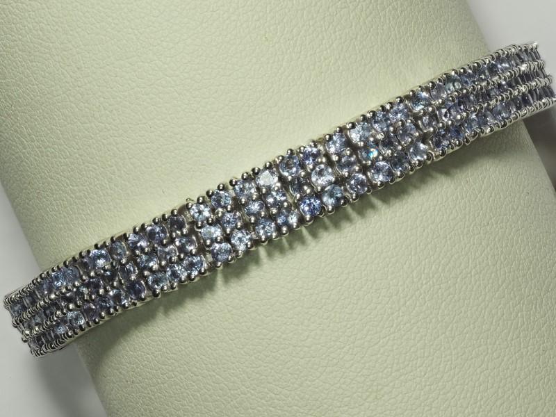 "Lot 35 - Sterling Silver 234 Sapphire (9.36ct) 7.5"" Bracelet. Retail Appraised Value $2300 (35-NT128)"