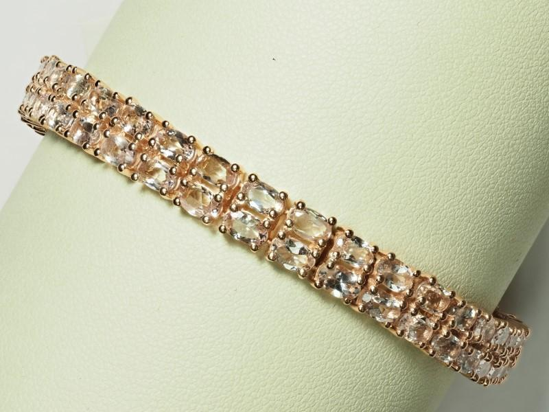 Lot 14 - Sterling Silver Rose Gold Plated Morganite (17.50ct) Bracelet. Insurance Value $1600 (14-NT128)