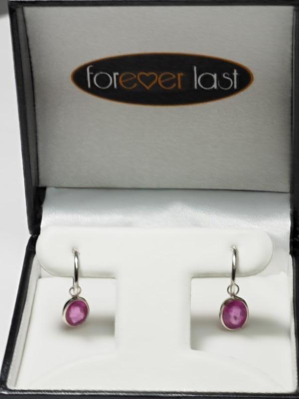 Lot 12 - 14K White Gold Ruby (4.0ct, July Birthstone) Hoop Earrings. Insurance Value $1500 (12-NT128)