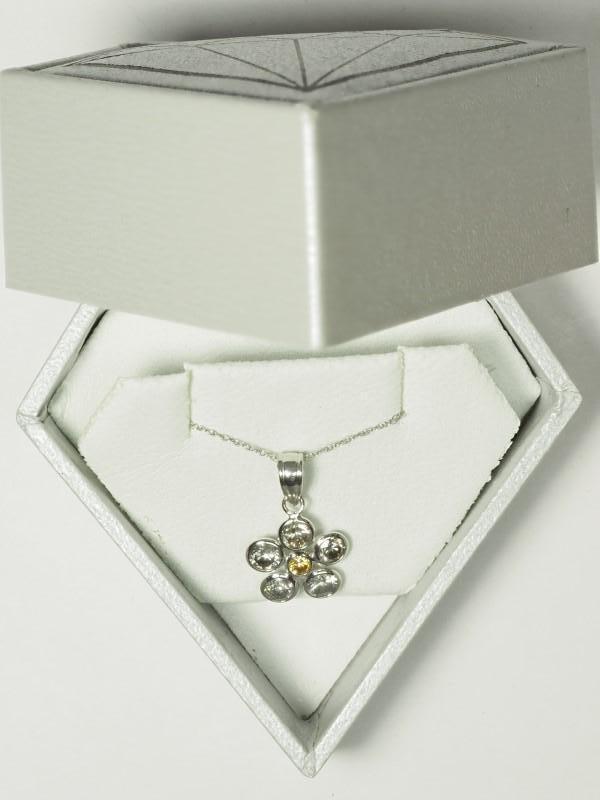 Lot 30 - 14K White Gold Diamond (1.25ct, April Birthstone) Flower Pendant Necklace. Insurance Value $2250 (30
