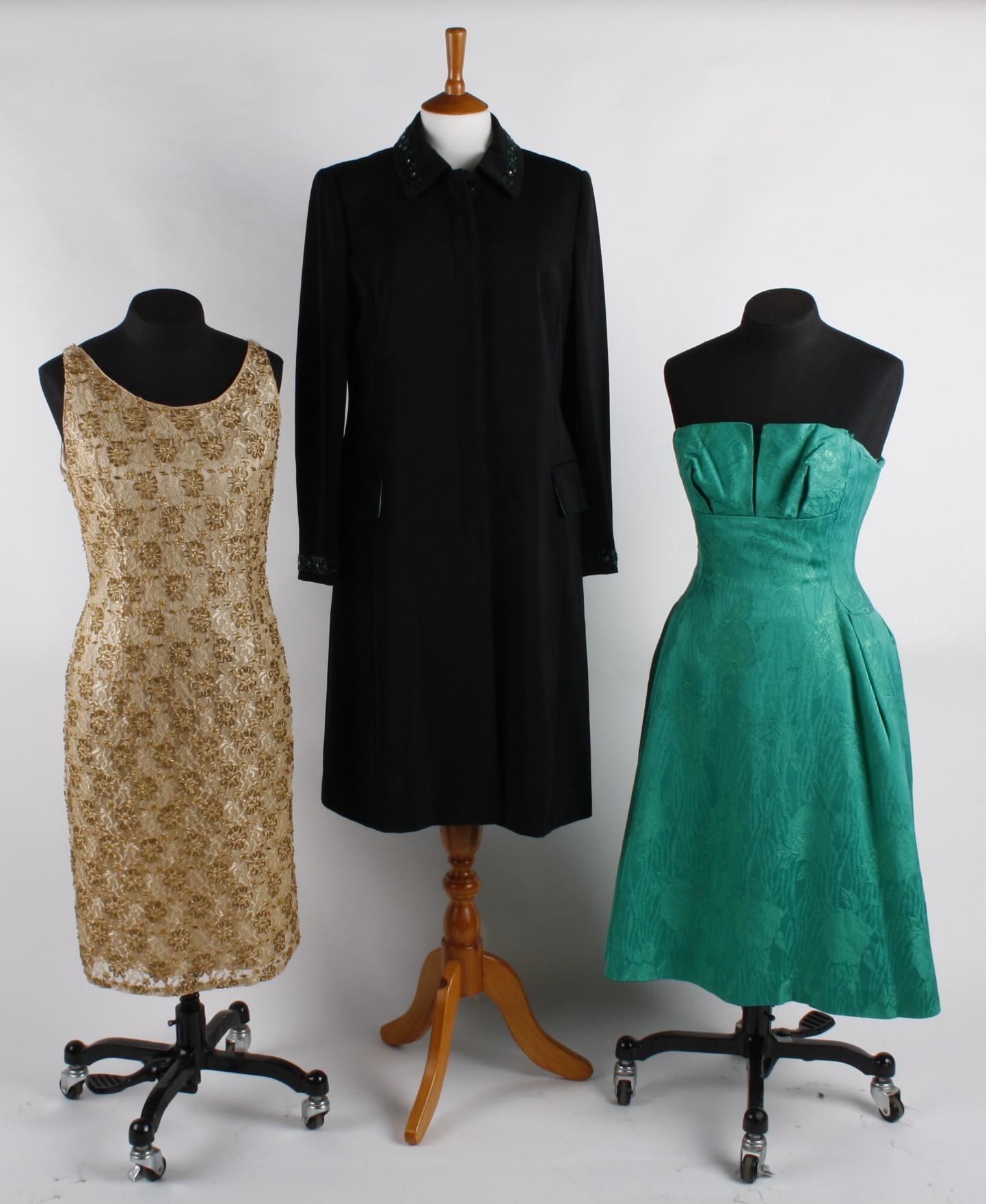 Lot 144 - An emerald green short brocade prom dress  a Nicholas Millington  evening coat 6f3e153fd