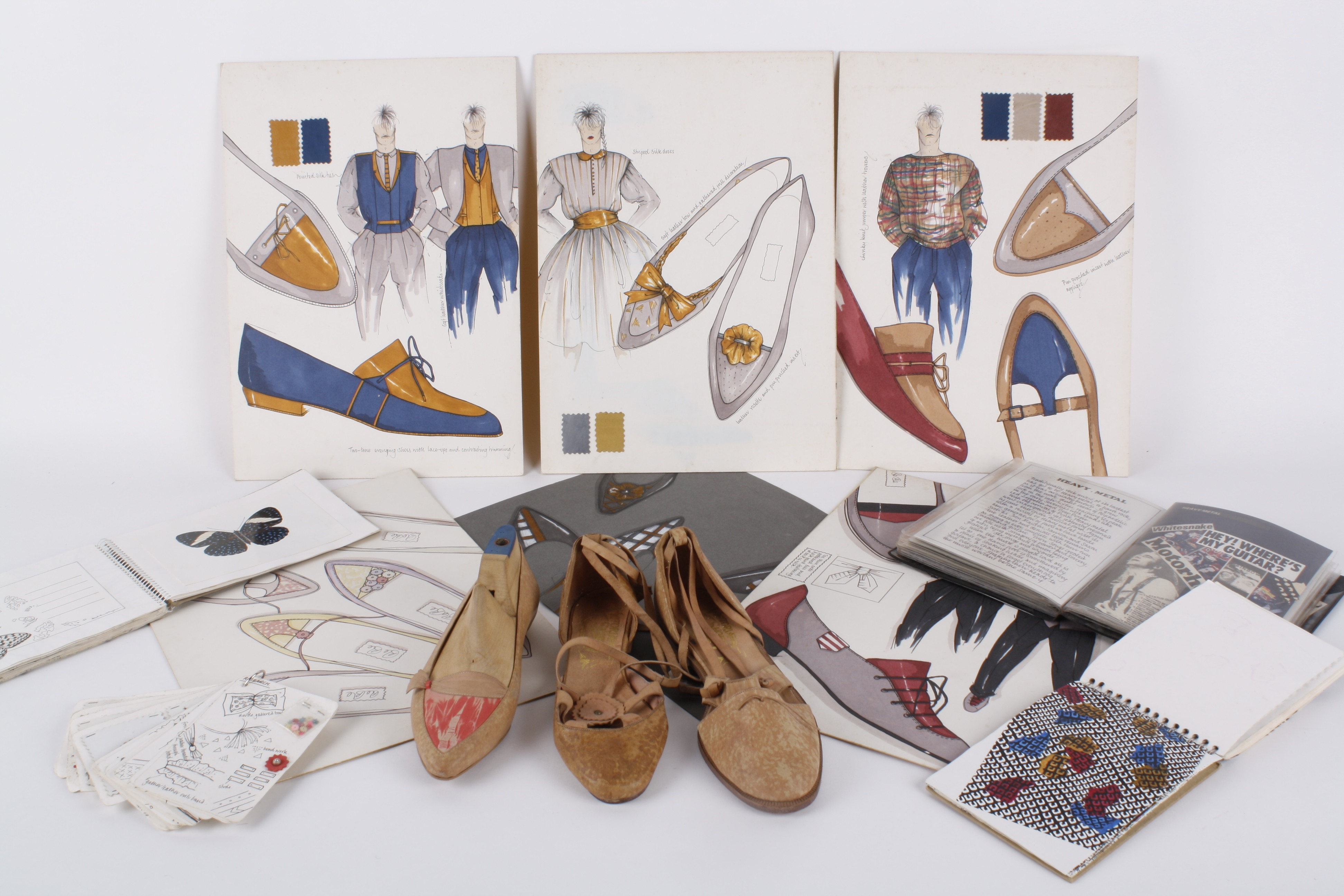 A Collection Of 1980s Fashion Design Sketches Comprising Drawings And Presentation Boards For S