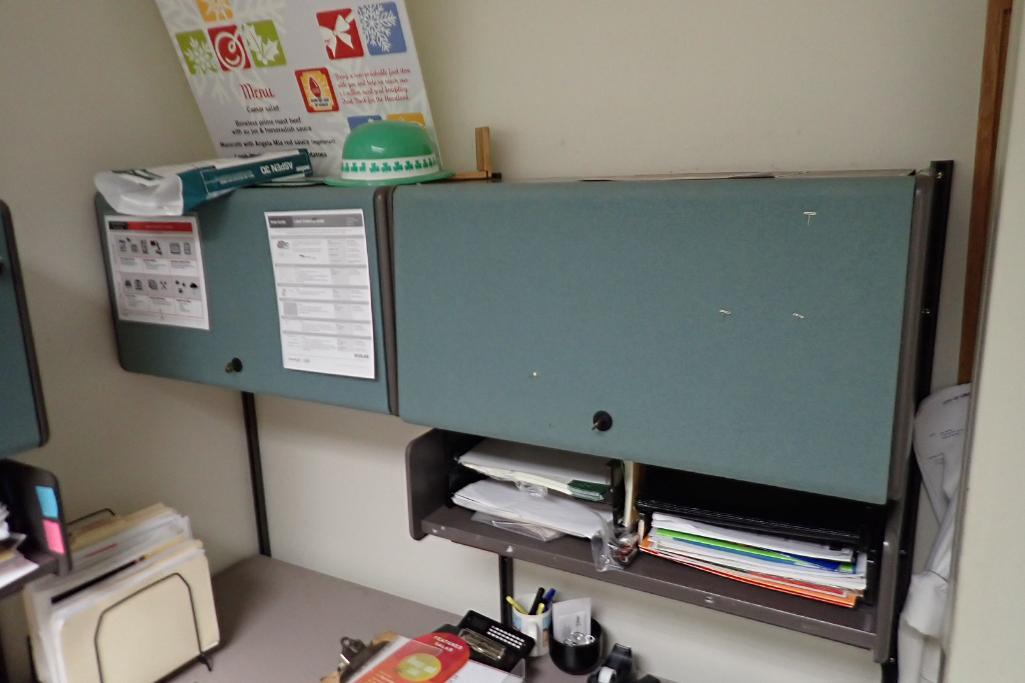 Contents of office, work surface wall track, 2 filing cabinets, 4 flip up doors, Fire Fyter safe - Image 4 of 6