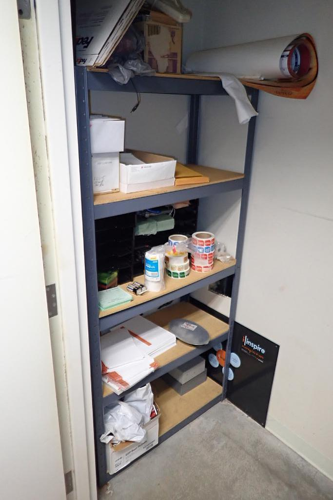 Contents of storage room including 2 shelves and contents