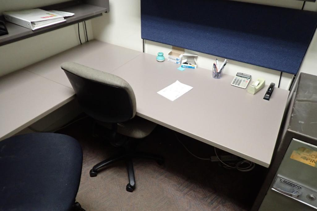 Contents of office, work surface wall track, 2 filing cabinets, 4 flip up doors, chairs, safe, 3 dra - Image 3 of 9