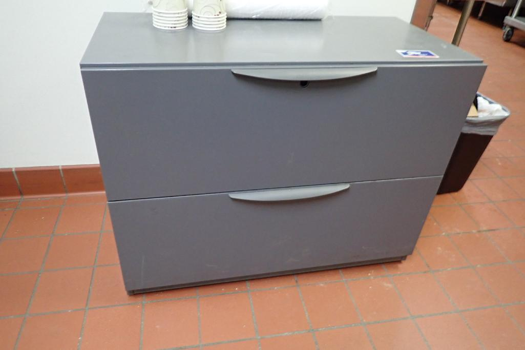 Contents of office, work surface wall track, 2 filing cabinets, 4 flip up doors, chairs, safe, 3 dra - Image 8 of 9