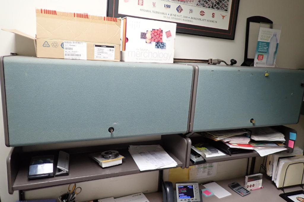 Contents of office, work surface wall track, 2 filing cabinets, 4 flip up doors, Fire Fyter safe - Image 3 of 6