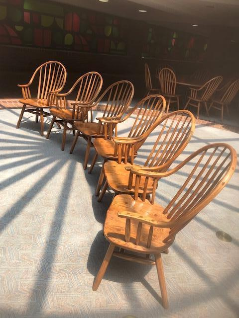 Wooden Hunt Oak Spinal Armed Chairs