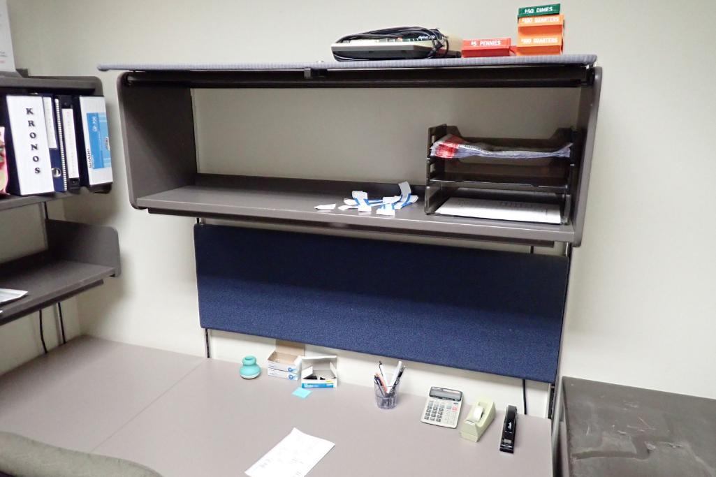 Contents of office, work surface wall track, 2 filing cabinets, 4 flip up doors, chairs, safe, 3 dra - Image 4 of 9