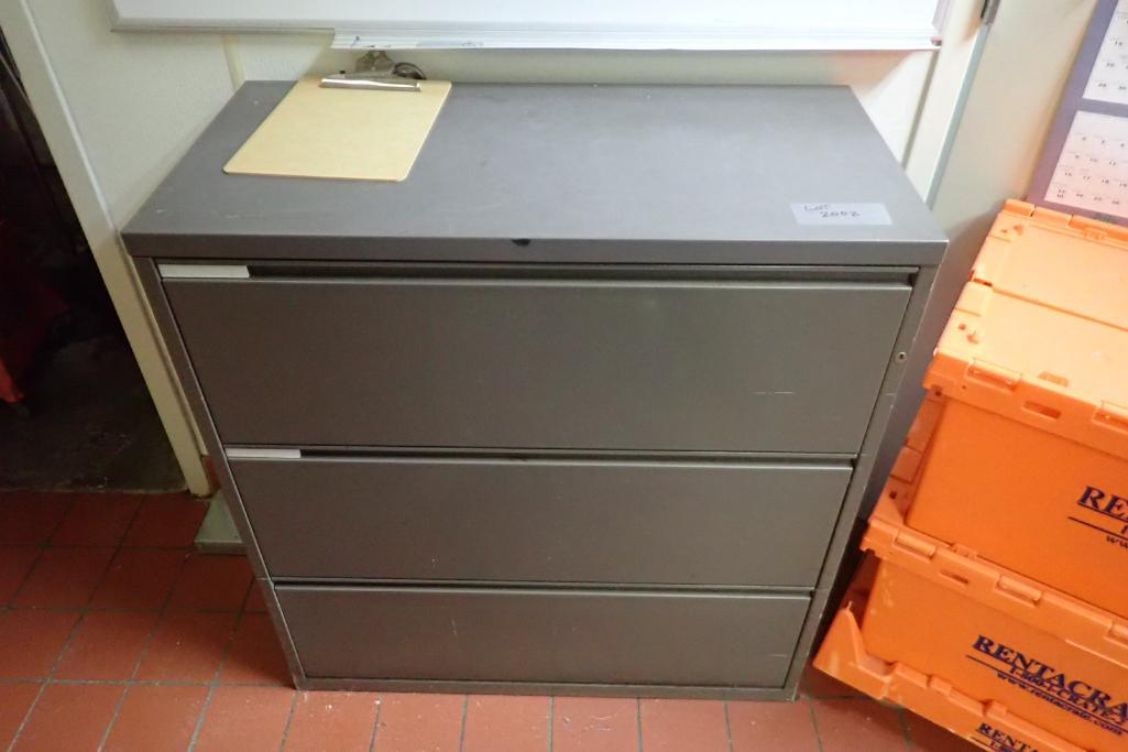 Contents of office, work surface wall track, 2 filing cabinets, 4 flip up doors, chairs, safe, 3 dra - Image 7 of 9