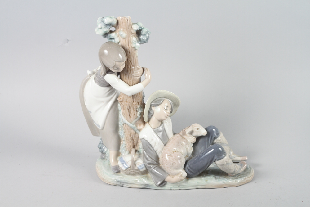 """Lot 29 - A Lladro figure, """"Medieval Prince"""" No 06115, and a Lladro figure group, """"Sleeping Shepherd"""" No 1256"""