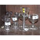 A Georgian squat liquor glass, a cordial glass with air-twist stem and an assortment of lead and