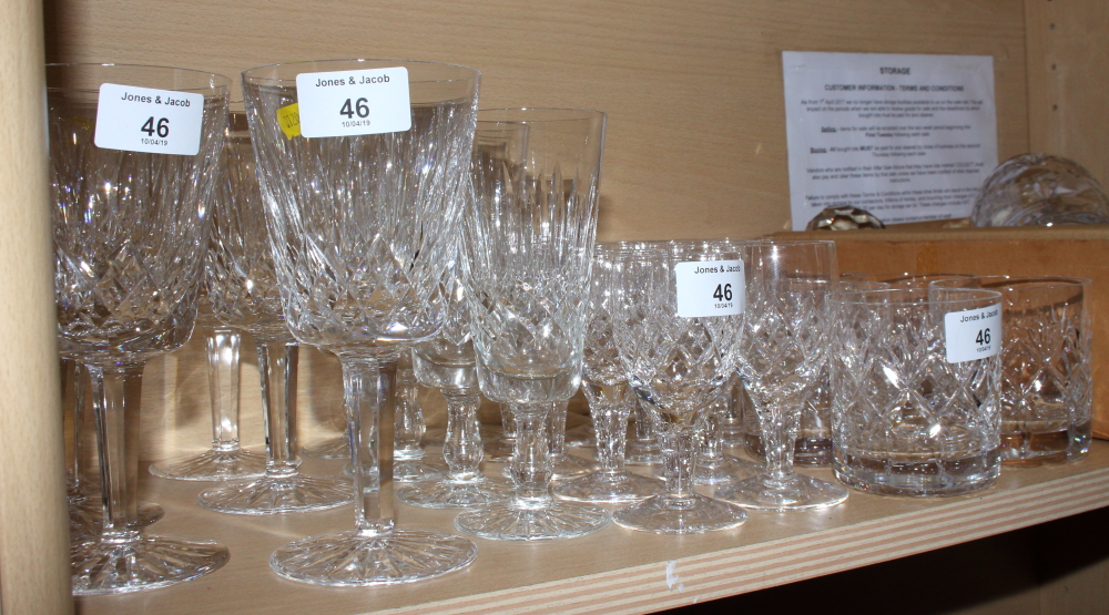 Lot 46 - A set of six Waterford wine glasses, a set of six cut glass tumblers, various other glasses, a cut