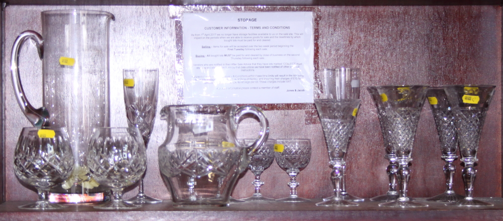 Lot 47 - Four Edwardian cut glass champagne flutes, three other flutes, four ports, two brandies and two