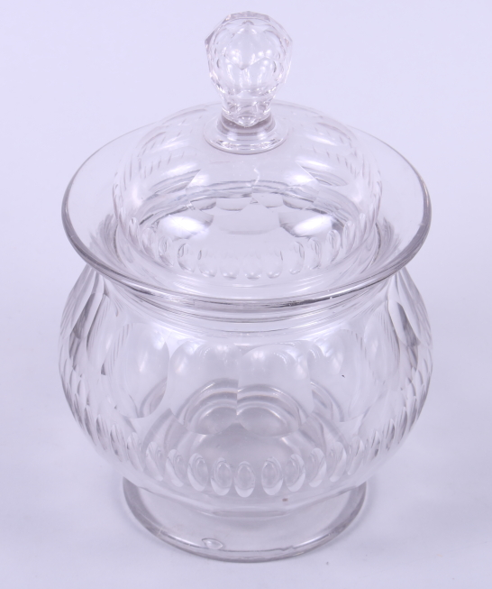 "Lot 48 - A 19th century French cut glass pedestal sweet jar and cover, 8"" high"