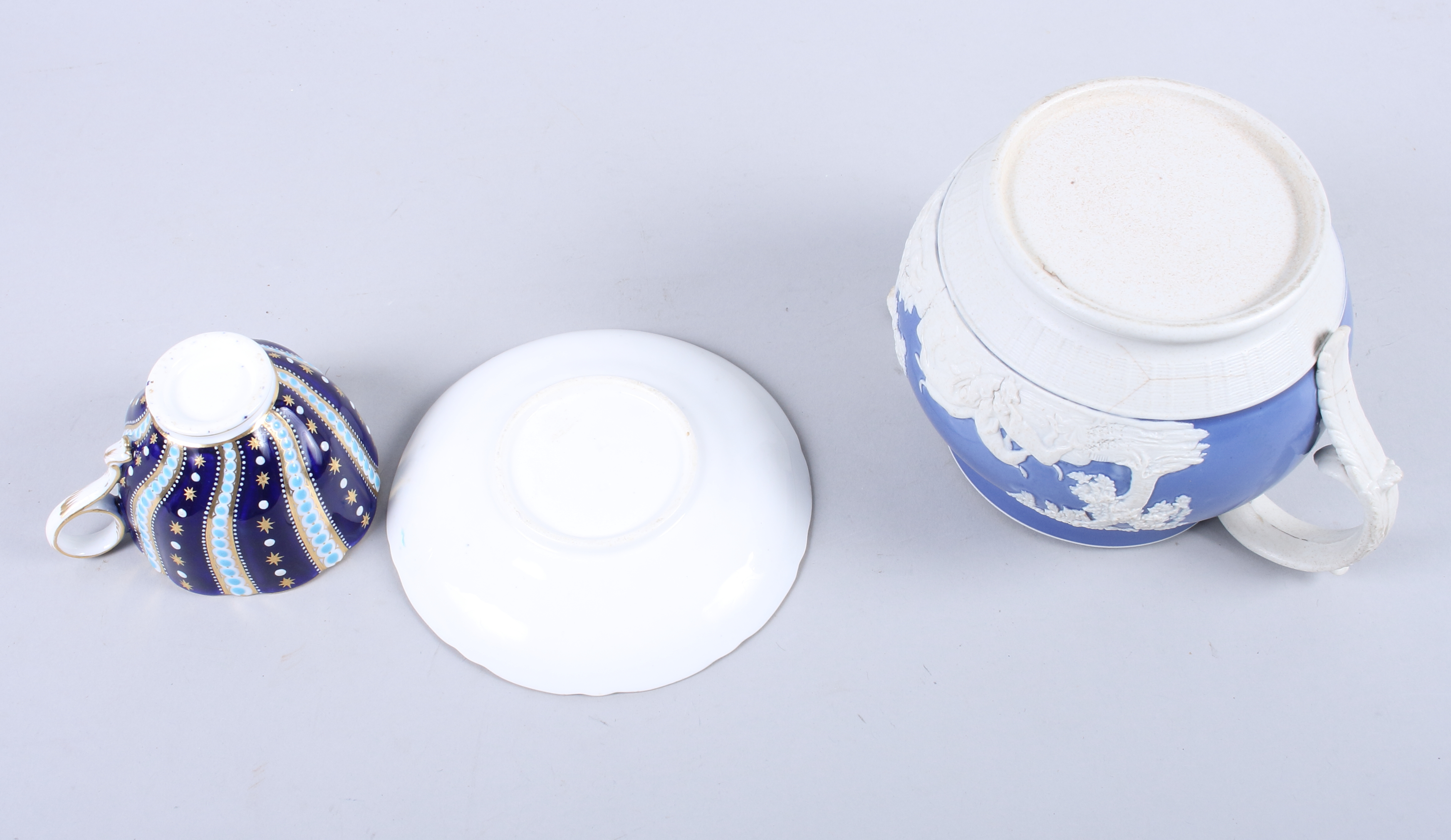 Lot 3 - An early Victorian blue enamel and gilt decorated spiral fluted cabinet cup and saucer, and an early