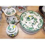 """A Masons Ironstone """"Green Chartreuse"""" pattern dinner service, ginger jar and cover and ten dinner"""