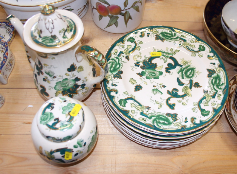 """Lot 59 - A Masons Ironstone """"Green Chartreuse"""" pattern dinner service, ginger jar and cover and ten dinner"""