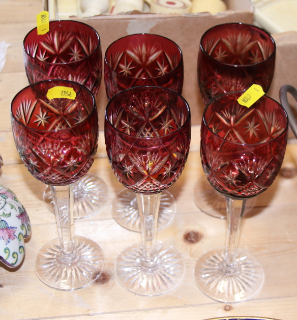 Lot 40 - Six cut glass ruby hocks