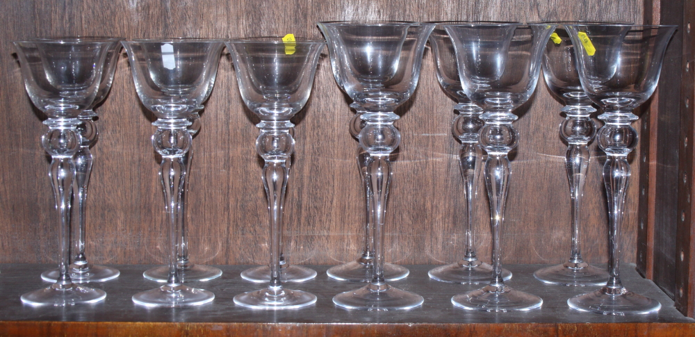 Six red and six white Venetian glass wines