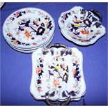 A Masons early 19th century ironstone Imari pattern part dessert service, five plates and three