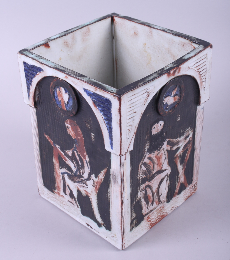 """Lot 33 - A studio pottery rectangular vase with four evangelists, 8 1/4"""" high"""