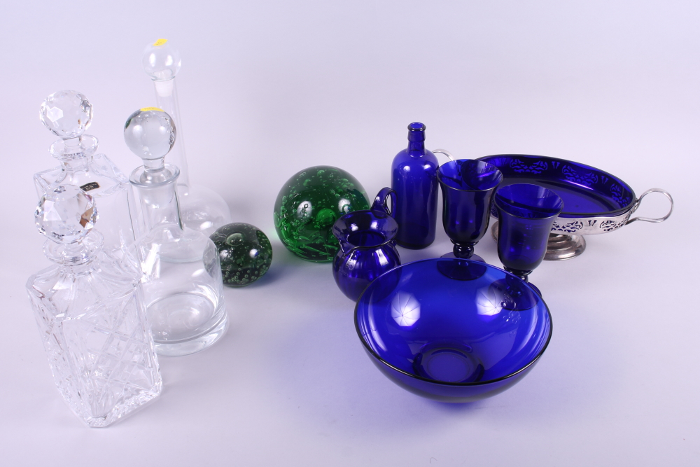 Lot 41 - A silver plated fruit dish with blue glass liner, two blue glass goblets, a similar jug and bowl,