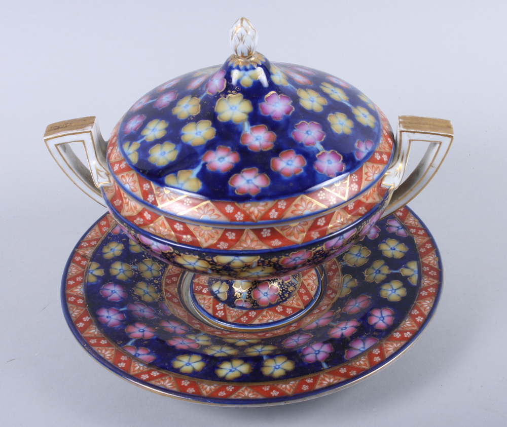 Lot 9 - A 19th century Continental two-handled floral decorated bowl, cover and stand