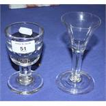 """A conical wine glass with folded foot, 5"""" high, and a 19th century firing glass, 4 1/4"""" high"""